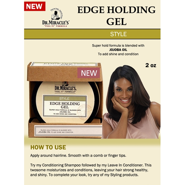 Dr.Miracle's Edge Holding Gel w/ Jojoba Oil for Hair Shine & Condition 2oz