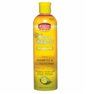 African Pride Olive Miracle 2-in-1 Shampoo Conditioner 12 oz