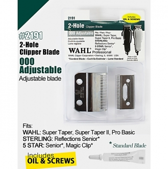 Wahl Professional 2-Hole Clipper Blade 000 Adjustable Blade w/ Oil & Screw