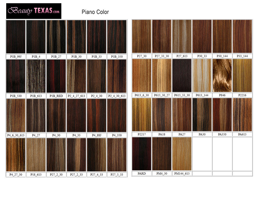 Hair Weave Color Chart